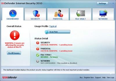 BitDefender Internet Security - dashboard