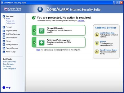 Zone Alarm Internet Security - you are protected