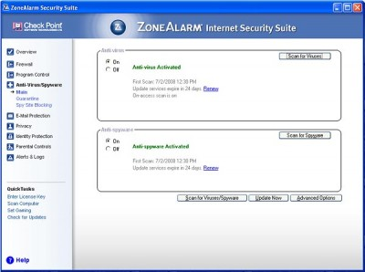 ZoneAlarm Internet Security - scan